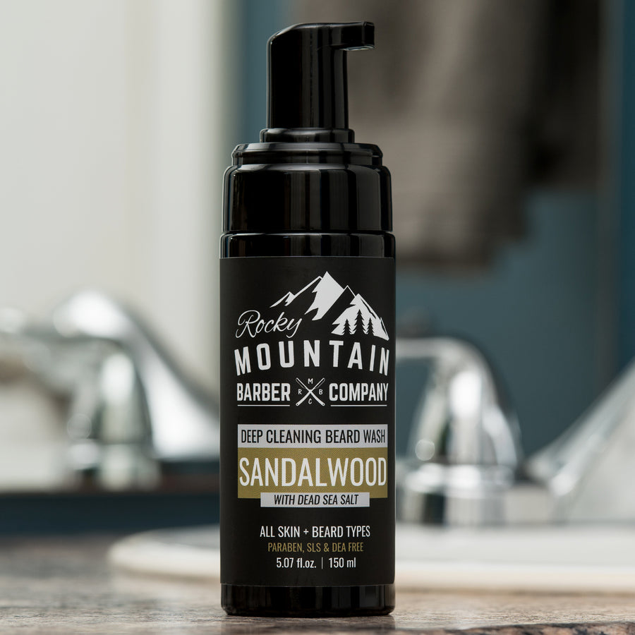 Foaming Sandalwood Beard Wash on Bathroom Counter