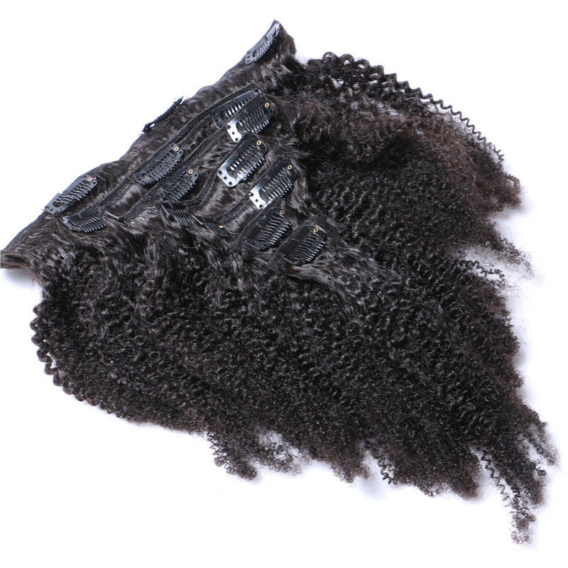 Full Head Afro Kinky Curly Brazilian Clip In Human Hair Extensions