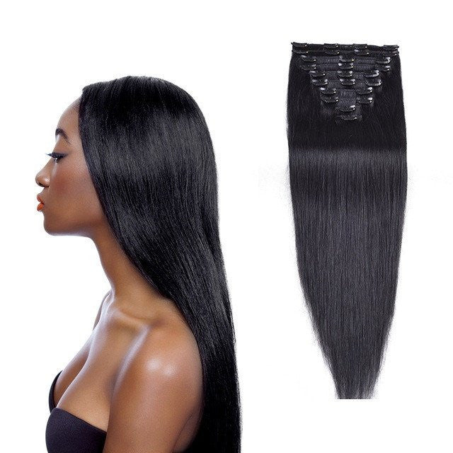 Full Head Straight Brazilian Clip In Human Hair Extensions Hairticket