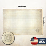 "Distressed Dry Erase Grid Mat - 24""x36"""