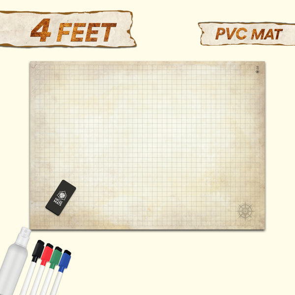 "Jumbo Distressed Dry Erase Grid Mat - 34.5""x48"""