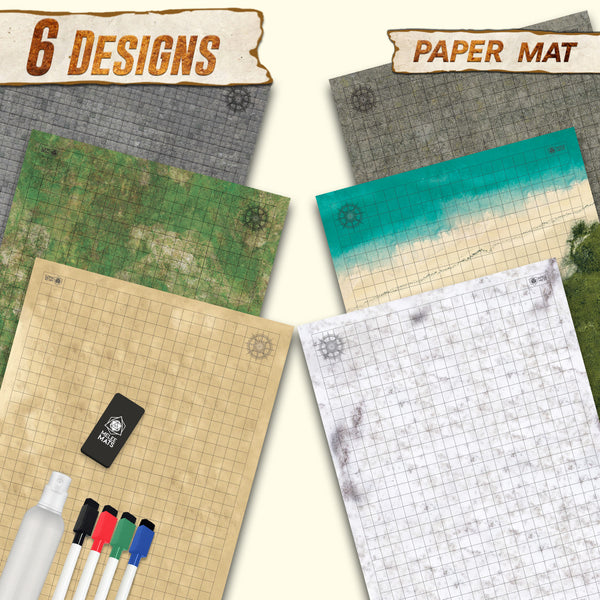 "Dungeon-Cobblestone-Moss-Beach-Desert-Tundra - 3 Pack Double Sided Dry Erase Grid Mat -  24""x36"""