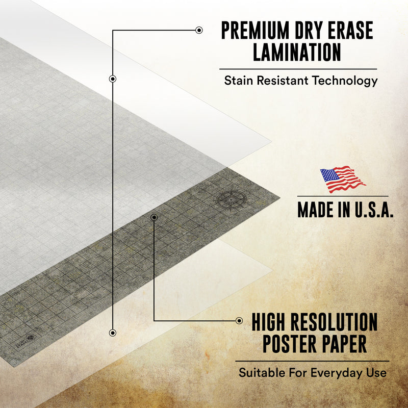 "Dungeon-Cobblestone-Moss-Beach - 2 Pack Double Sided Dry Erase Grid Mat - 24""x36"""