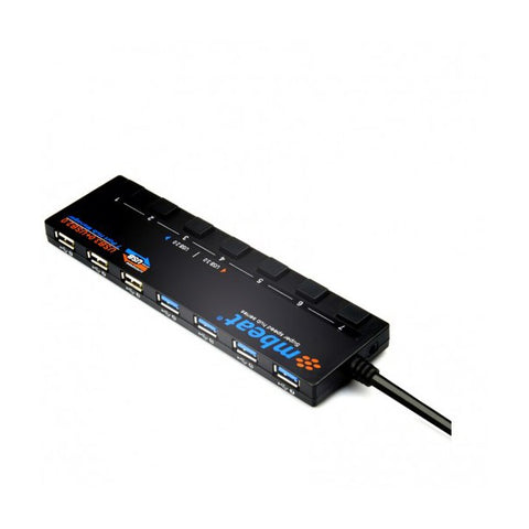 mbeat USB 3.0 x 4 USB 2.0 x 3 (7-Port) Hub with Switches and Power Adapter