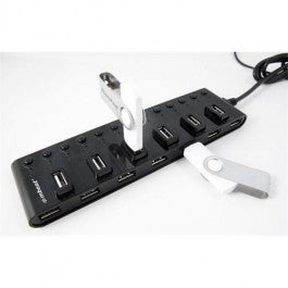 Mbeat 13-Port USB 2.0 Hub Individual Power Switches And Adapter
