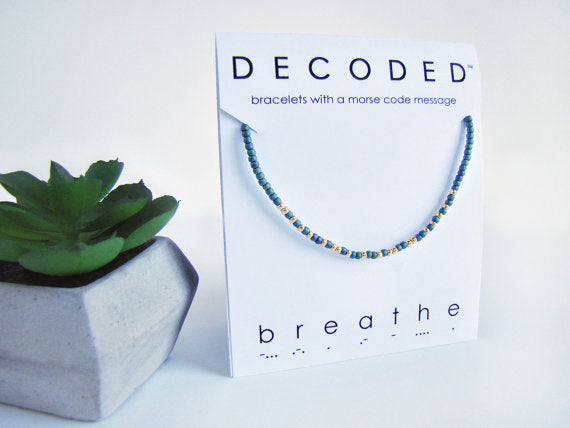 "Decoded Designs Morse Code Bracelet ""Breathe"""