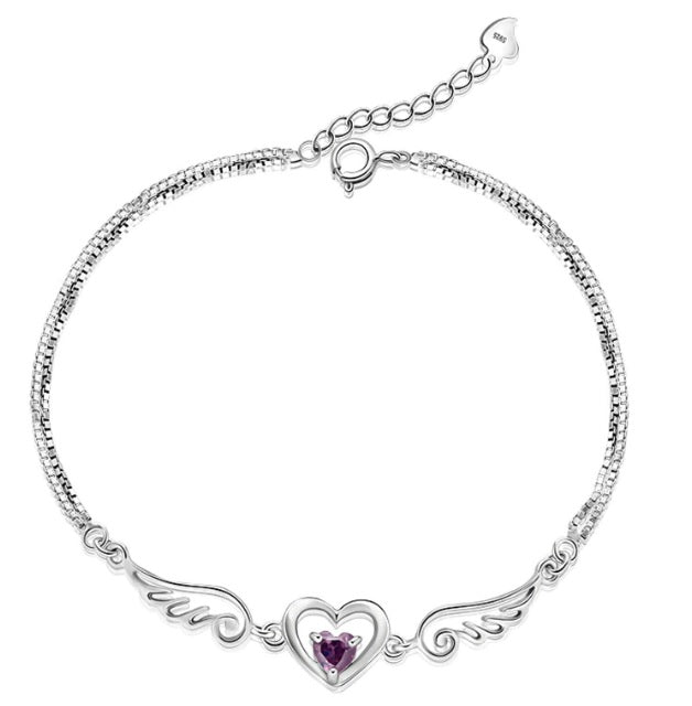 Heavens Angel Wings Crystal Heart Necklace - 925 Sterling Silver