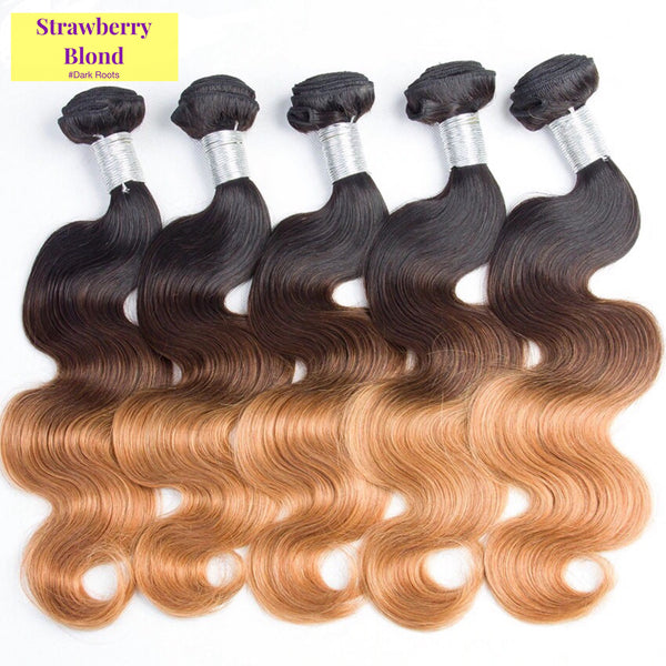 Strawberry Blond & Black Ombre (Body Wave) - Glam Up Hair & Beauty