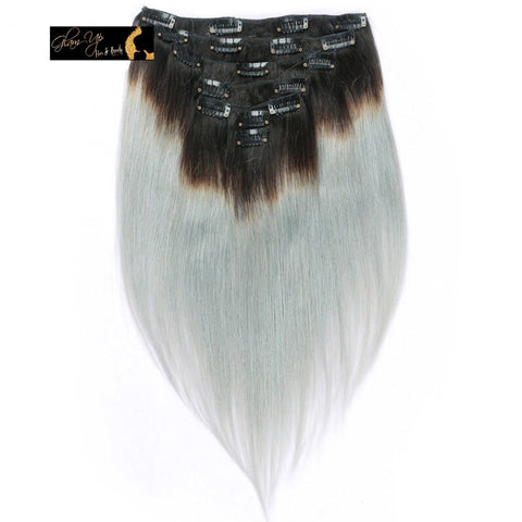 Dark Roots & Gray Ombré Clip-ins - Glam Up Hair & Beauty