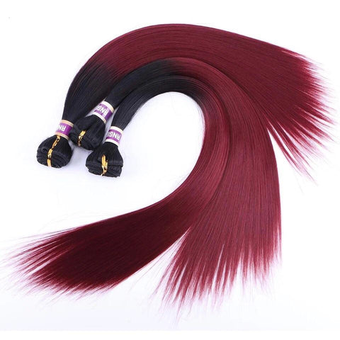 Dark Roots & Maroon (1B/99J) Yaki Bundles) - Glam Up Hair & Beauty