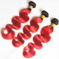 Cherry Red & Black Ombre (Body Wave) - Glam Up Hair & Beauty