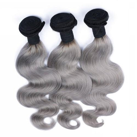 Silver & Black Ombre (Body Wave) - Glam Up Hair & Beauty