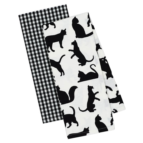 Cat print black & white dish towel set