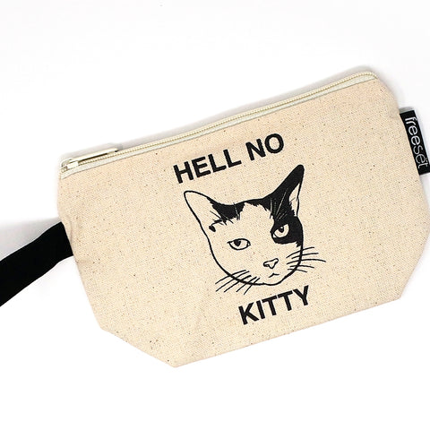 """Hell no kitty"" canvas pouch"