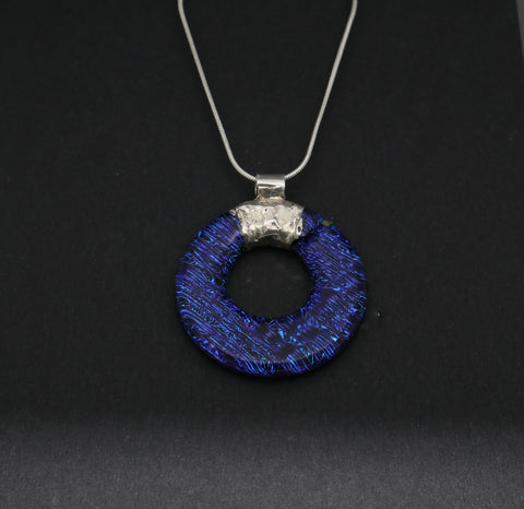 Donut Blue Dichroic Glass Pendant
