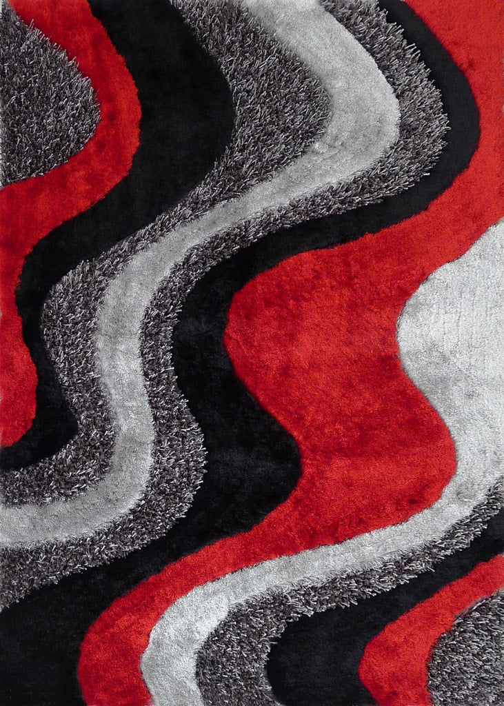 Rug Factory Plus, Shaggy Viscose Area Rug, Design 29 Black & Gray & Red