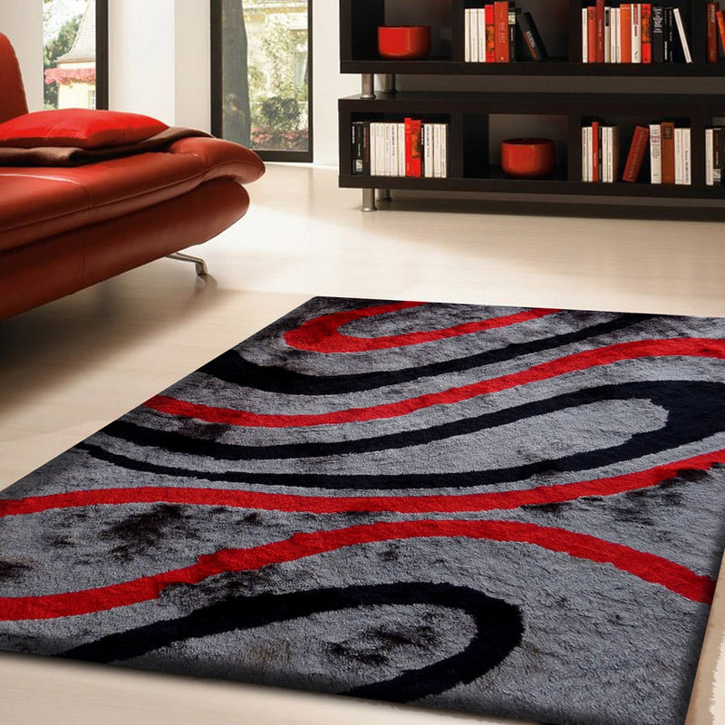 Rug Factory Plus, Shaggy Viscose Area Rug, Design 8002 Gray & Red