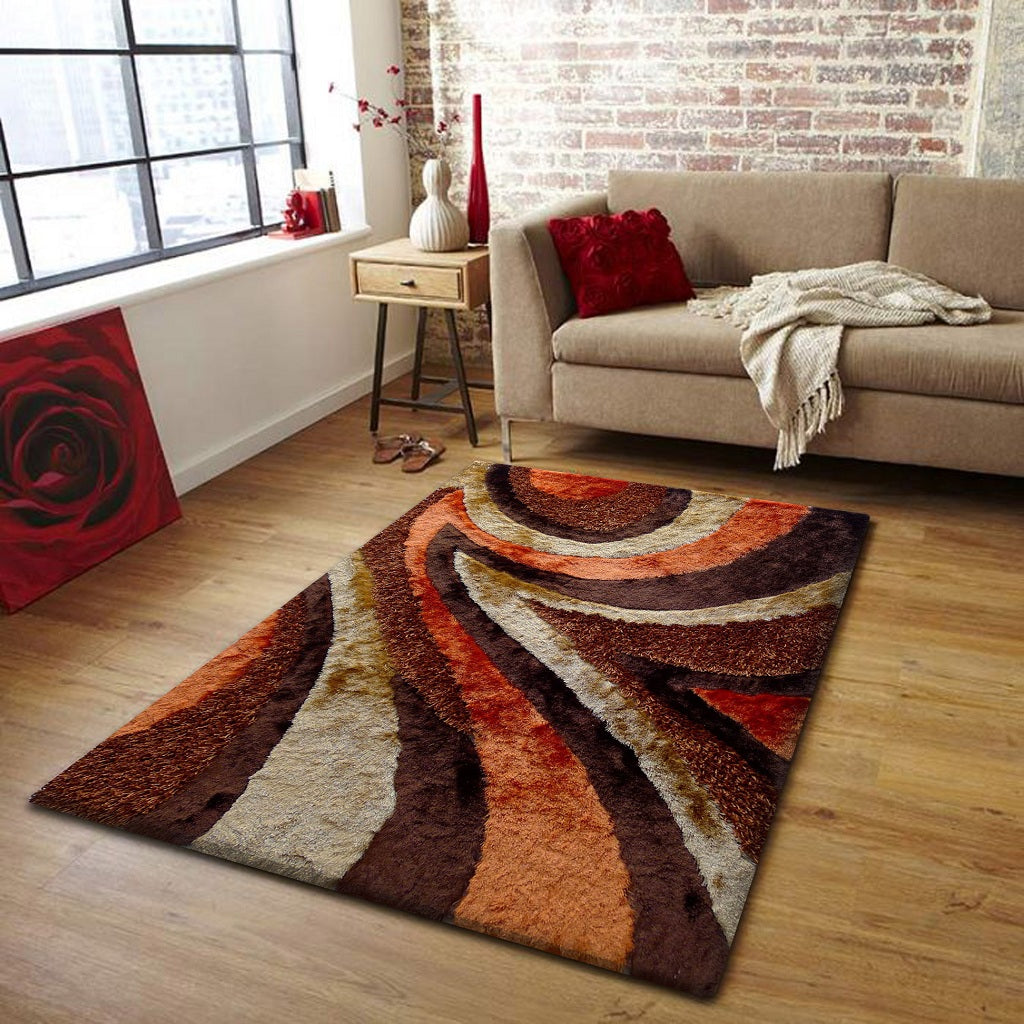 Rug Factory Plus, Shaggy Viscose Hand-Tufted Design 26 Area Rug, Brown & Orange