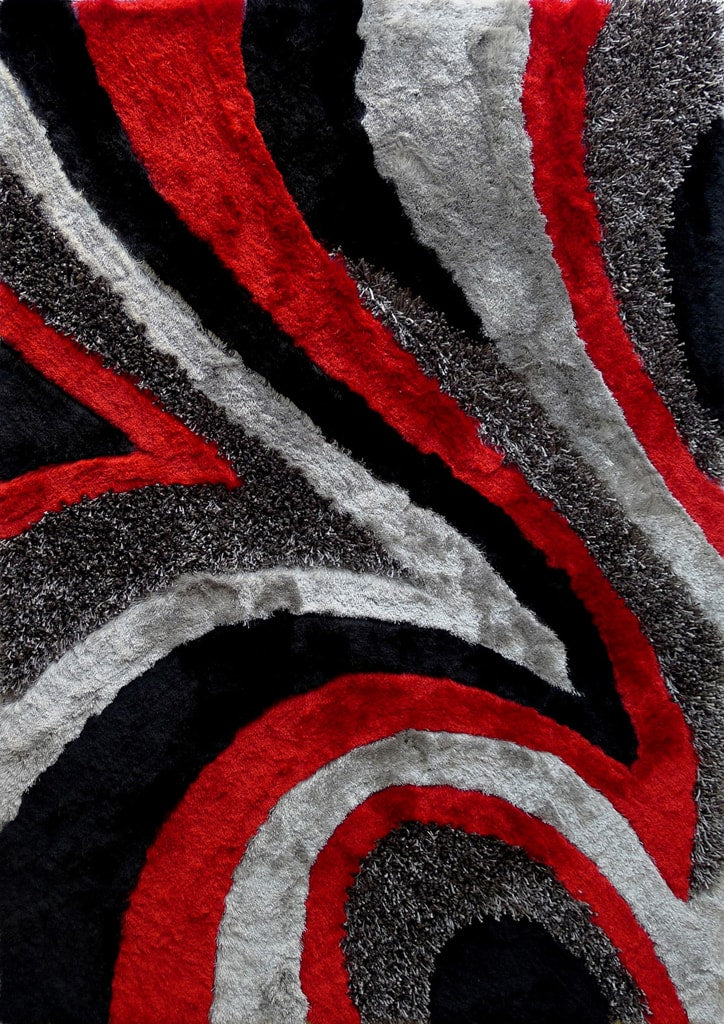 Rug Factory Plus, Shaggy Viscose Hand-Tufted Design 26 Area Rug, Gray & Red