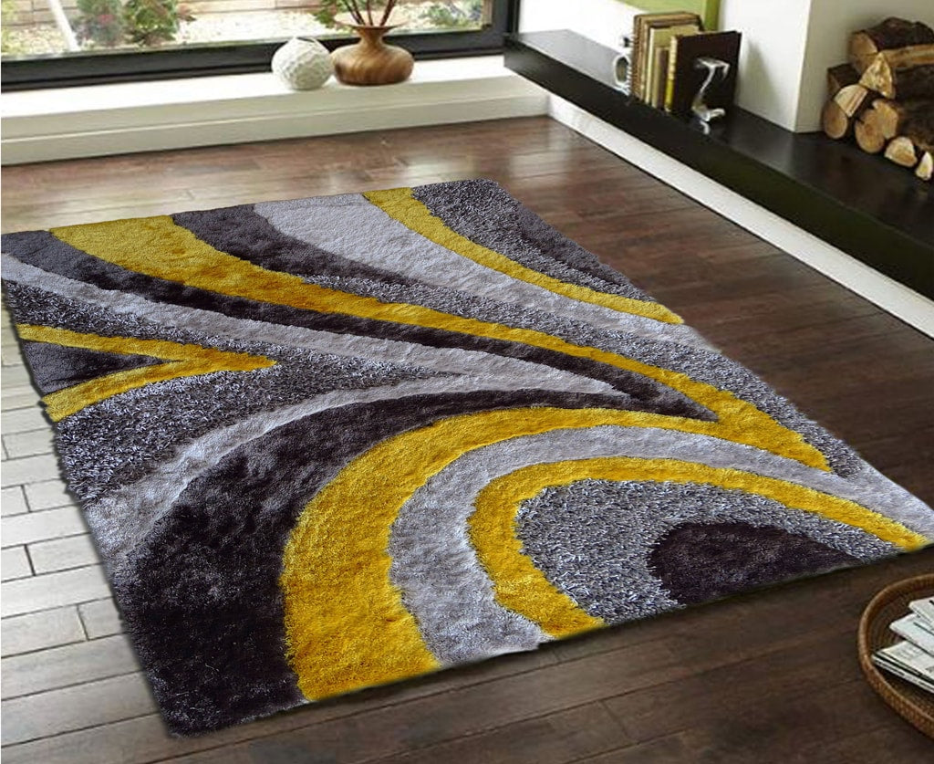 Rug Factory Plus, Shaggy Viscose Hand-Tufted Design 26 Area Rug, Gray & Yellow