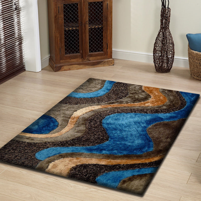 Rug Factory Plus, Shaggy Viscose Area Rug, Design 29 Brown & Blue