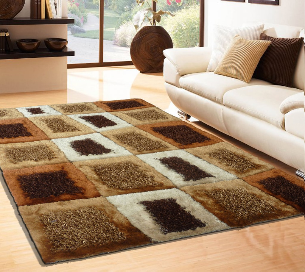 Rug Factory Plus, Shaggy Viscose Area Rug, Design 45 Brown