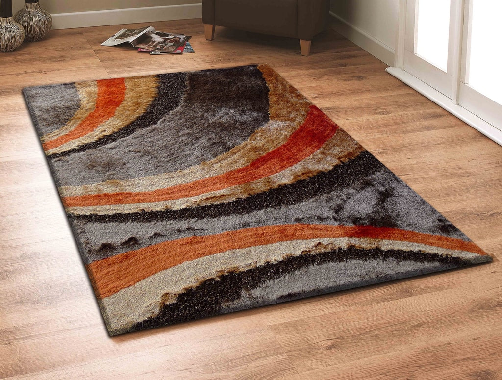 Rug Factory Plus, Shaggy Viscose Area Rug, Design 55 Brown & Orange