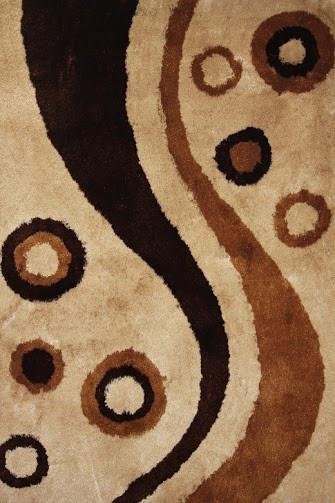 Rug Factory Plus, Shaggy Viscose Area Rug, Design 8003 Brown