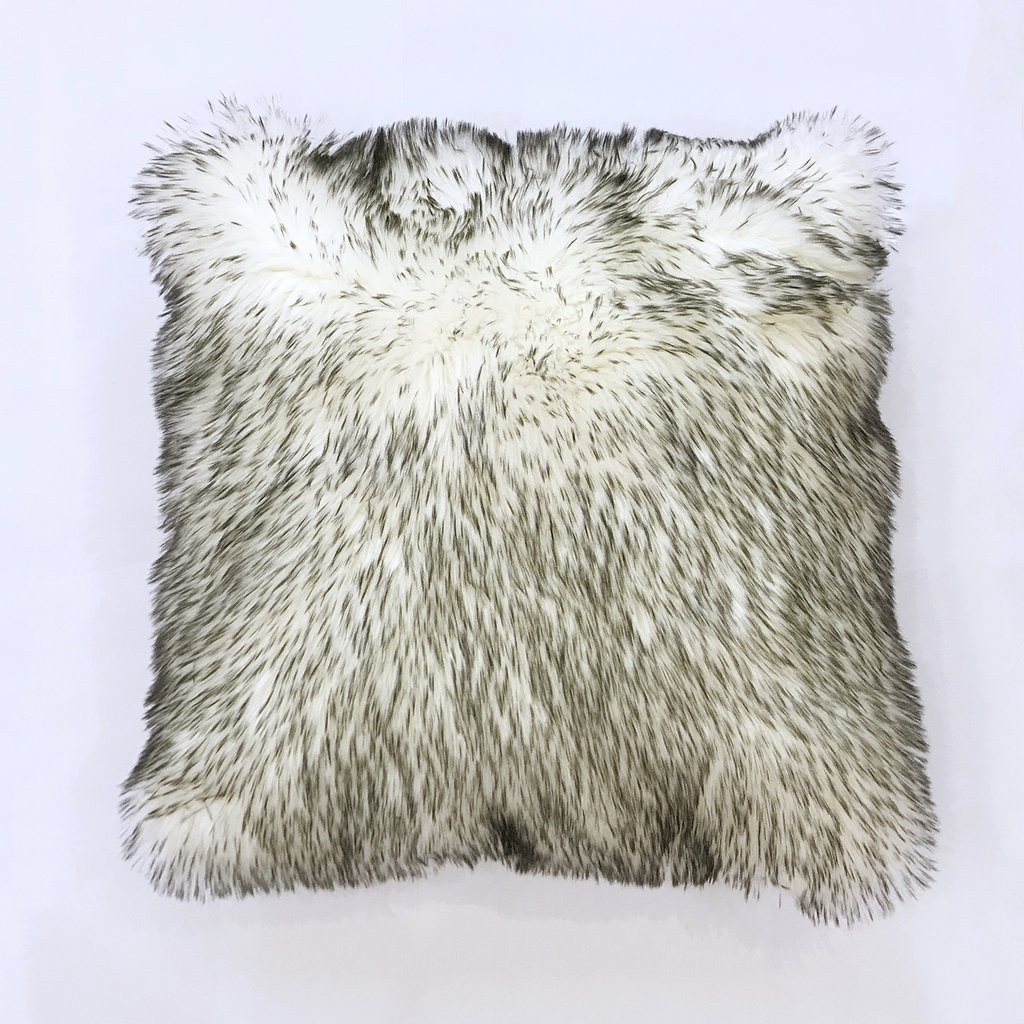 Rug Factory Plus, Fox Faux Fur Pillow, White & Grey