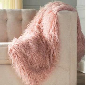 Rug Factory Plus, Fox Faux Fur Throw, Pink