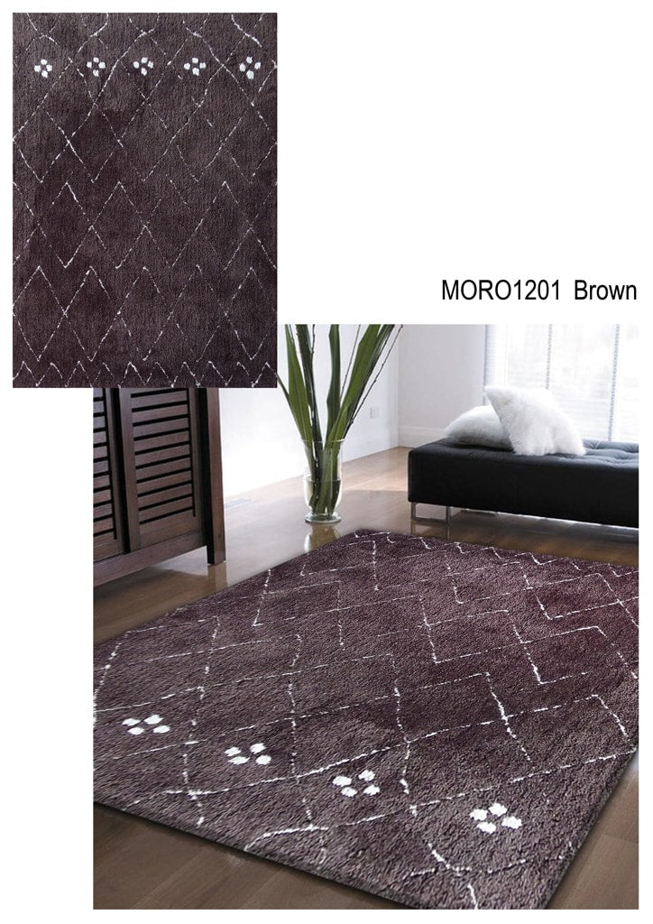 Rug Factory Plus, Moro Shag Collection, Moro 1201 Brown Area Rug