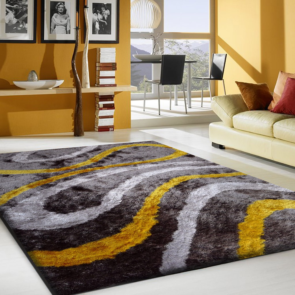 Rug Factory Plus, Shaggy Viscose Area Rug, Design 8002 Gray & Yellow