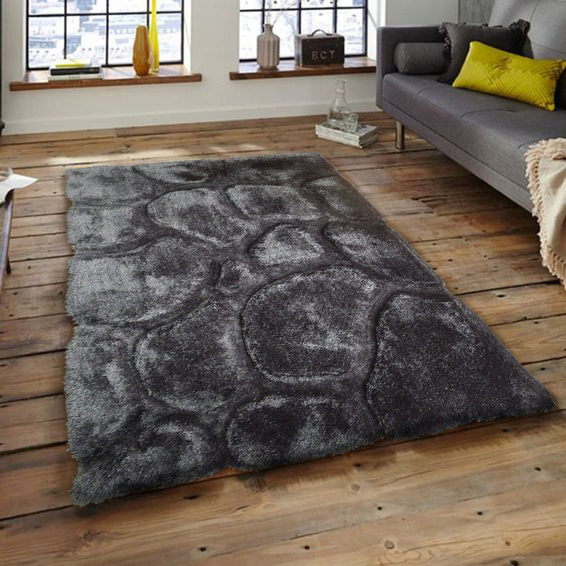 Rug Factory Plus, Rocks Collection, Hand-Tufted Area Rug, Steel