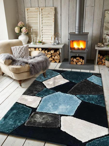 Rug Factory Plus, Rocks Collection, Hand-Tufted Area Rug, Tile Blue