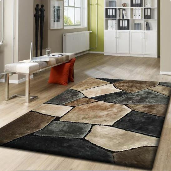 Rug Factory Plus, Rocks Collection, Hand-Tufted Area Rug, Tile Earth