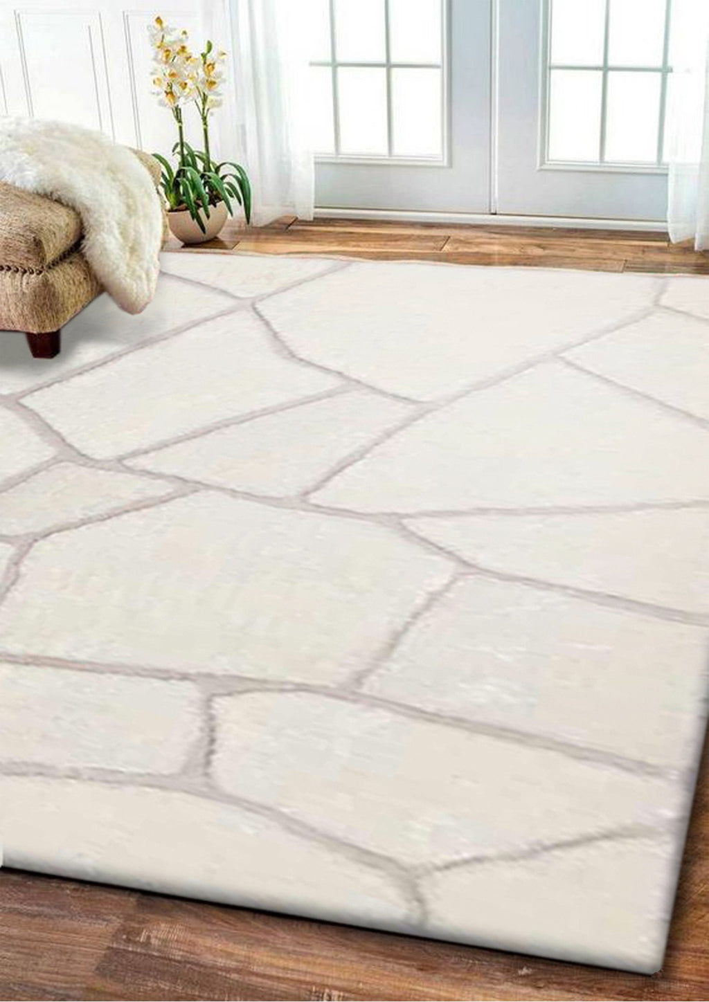 Rug Factory Plus, Rocks Collection, Hand-Tufted Area Rug, Tile White