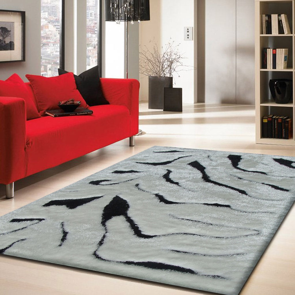 Rug Factory Plus, Shaggy Viscose Area Rug, Design Zebra Black & White