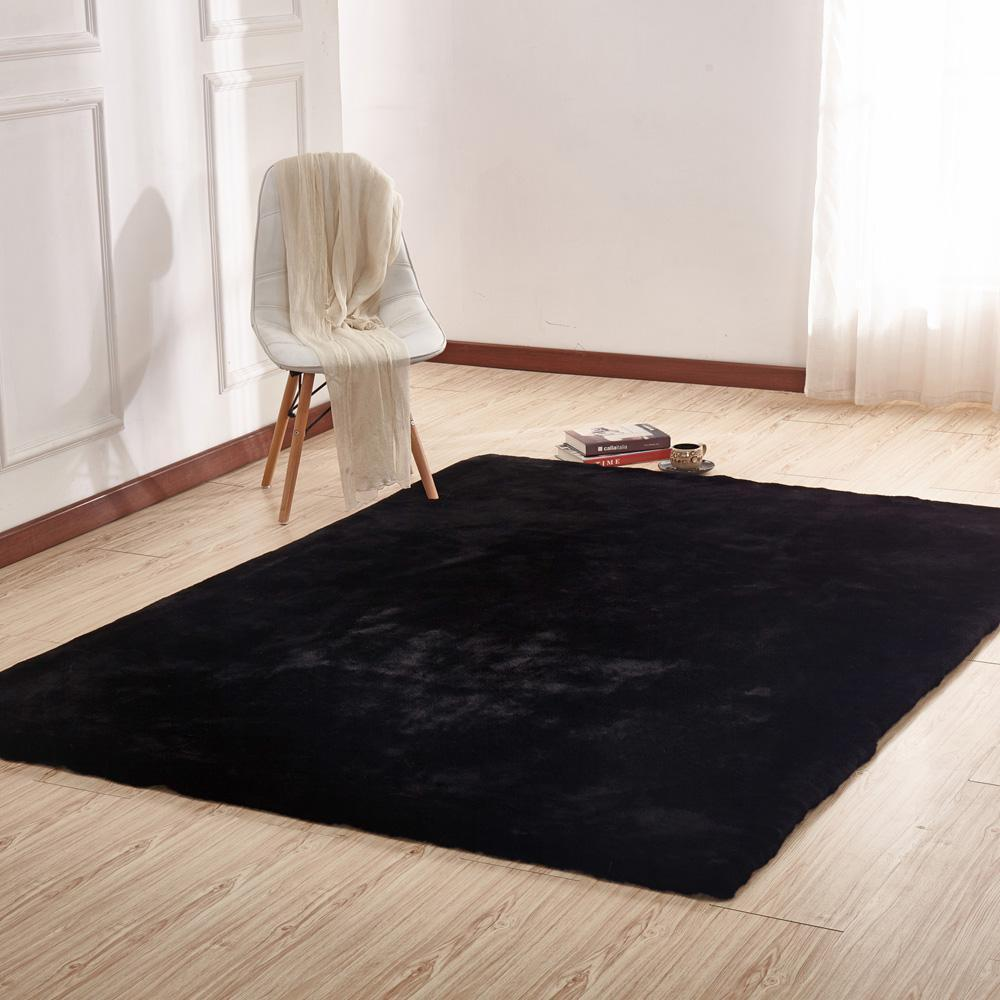 Faux Fur Rug - Rug Factory Plus, Faux Chinchilla Black Area Rug & Bed Cover