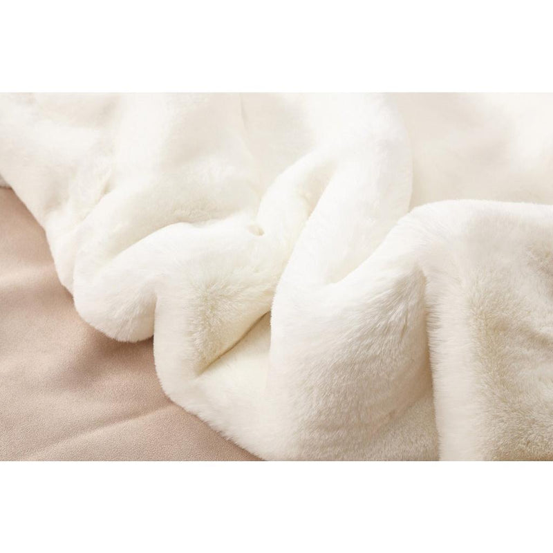 Faux Fur Rug - Rug Factory Plus, Faux Chinchilla Off White Area Rug & Bed Cover