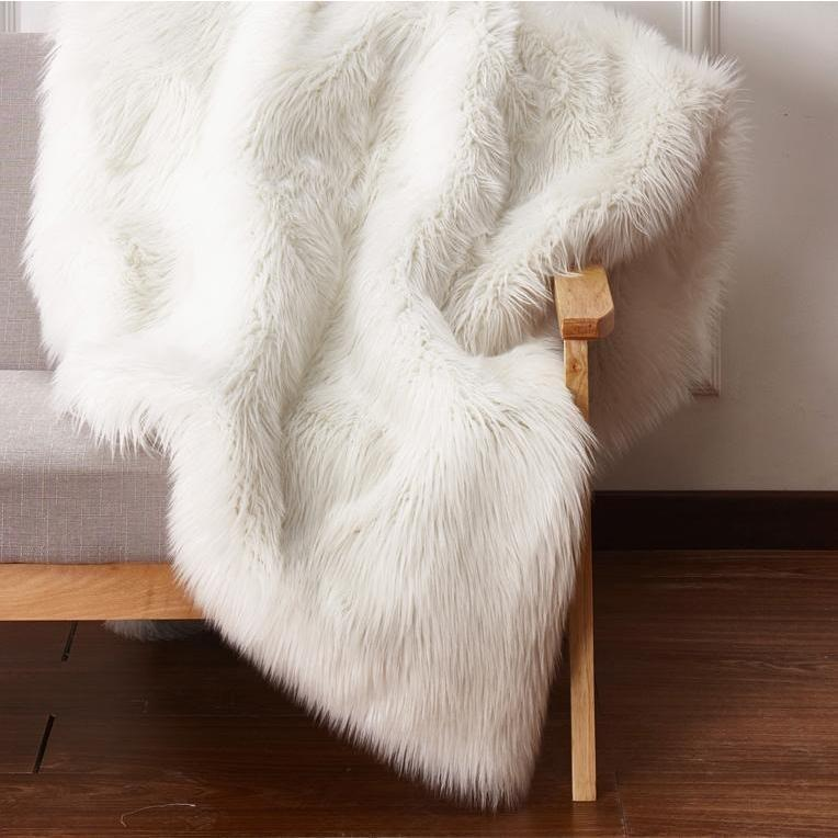 Faux Fur Rug - Rug Factory Plus, Faux Fox White Area Rug & Bed Cover