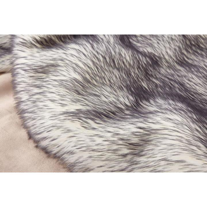 Faux Fur Rug - Rug Factory Plus, Faux Fox White Black Area Rug & Bed Cover