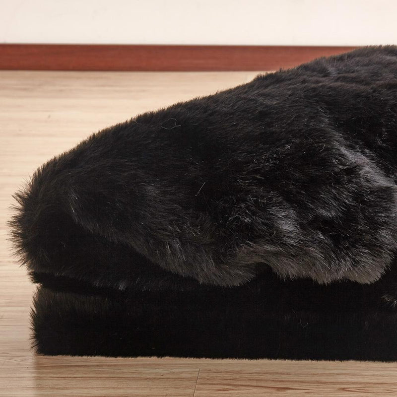 Faux Fur Rug - Rug Factory Plus, Faux Sheepskin Area Rug, Black