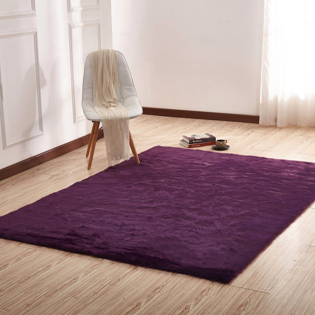 Faux Fur Rug - Rug Factory Plus, Faux Sheepskin Area Rug, DK Purple