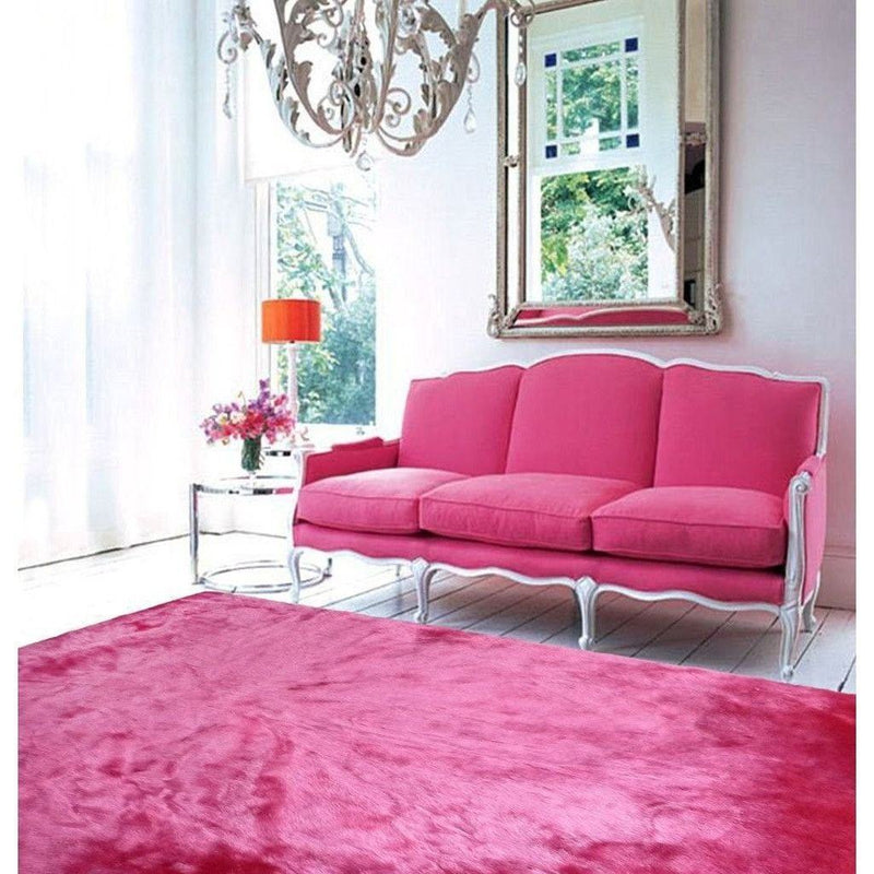 Faux Fur Rug - Rug Factory Plus, Faux Sheepskin Area Rug, Fuchsia