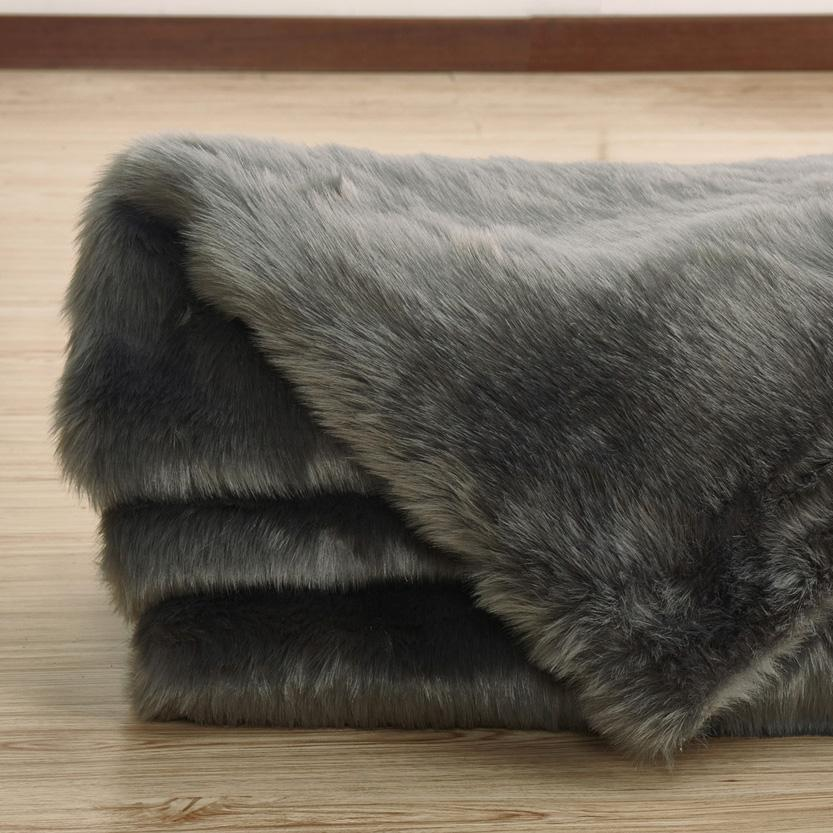 Faux Fur Rug - Rug Factory Plus, Faux Sheepskin Area Rug, Gray
