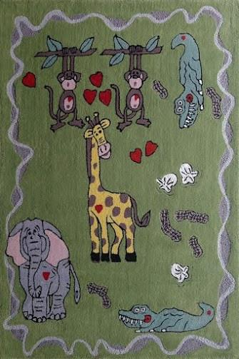 Rug Factory Plus, Zoomania Collection, Kids Rug, Happy Life Green