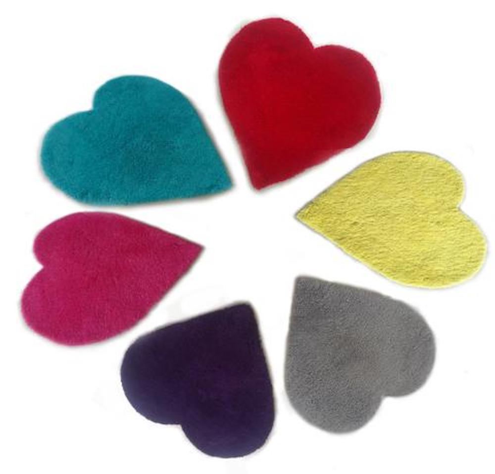 Kids Rug - Rug Factory Plus, XOXO Collection,  Heart Shape Area Rug Or Wall Decor, Pink, Purple, Silver, Turquoise, Yellow And Red