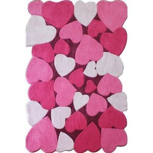 Kids Rug - Rug Factory Plus, Zoomania Collection, Carved Kids Area Rug, Pink Hearts