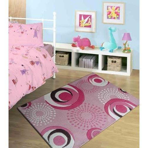 Kids Rug - Rug Factory Plus, Zoomania Collection Dancing Circles, Kids Rug, Pink Or Gray