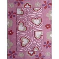 Kids Rug - Rug Factory Plus, Zoomania Collection, Kids Rug, Pink Hearts And Flowers